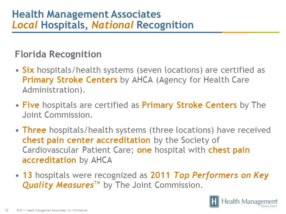 Health Management Associates Local Hospitals, National Recognition
