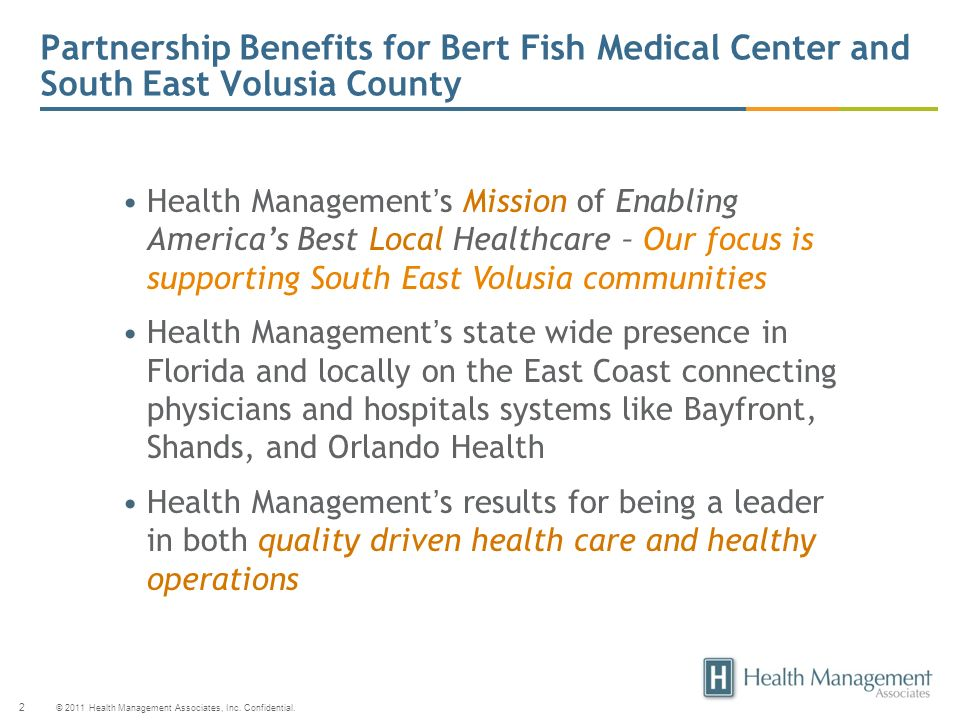 Partnership Benefits for Bert Fish Medical Center and South East Volusia County