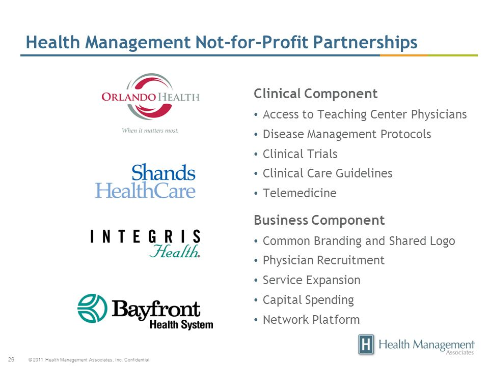 Health Management Not-for-Profit Partnerships
