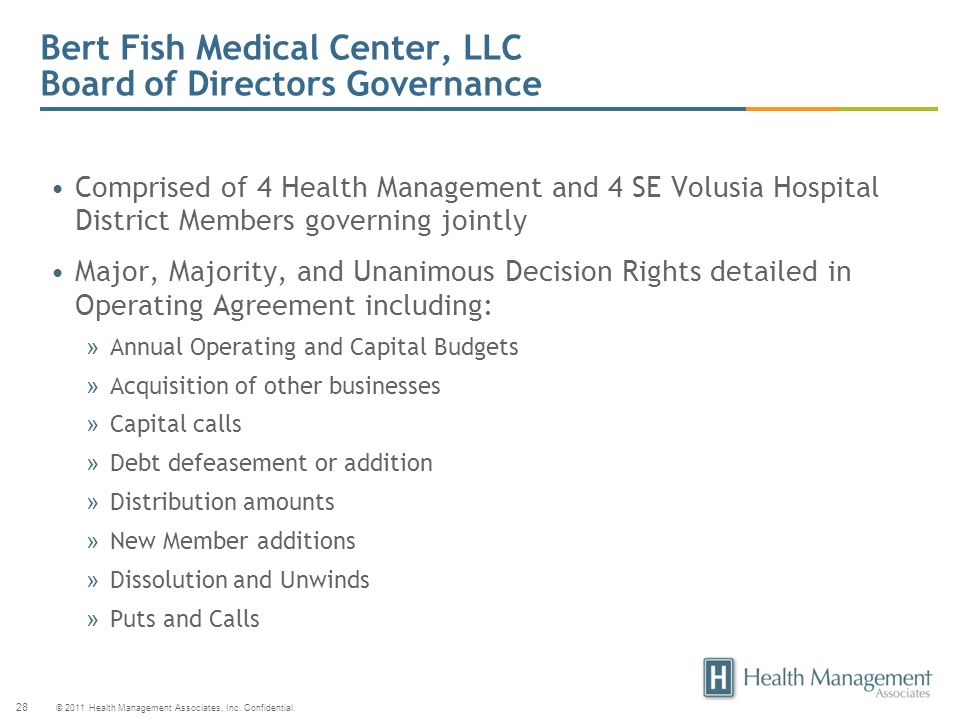 Bert Fish Medical Center, LLC Board of Directors Governance
