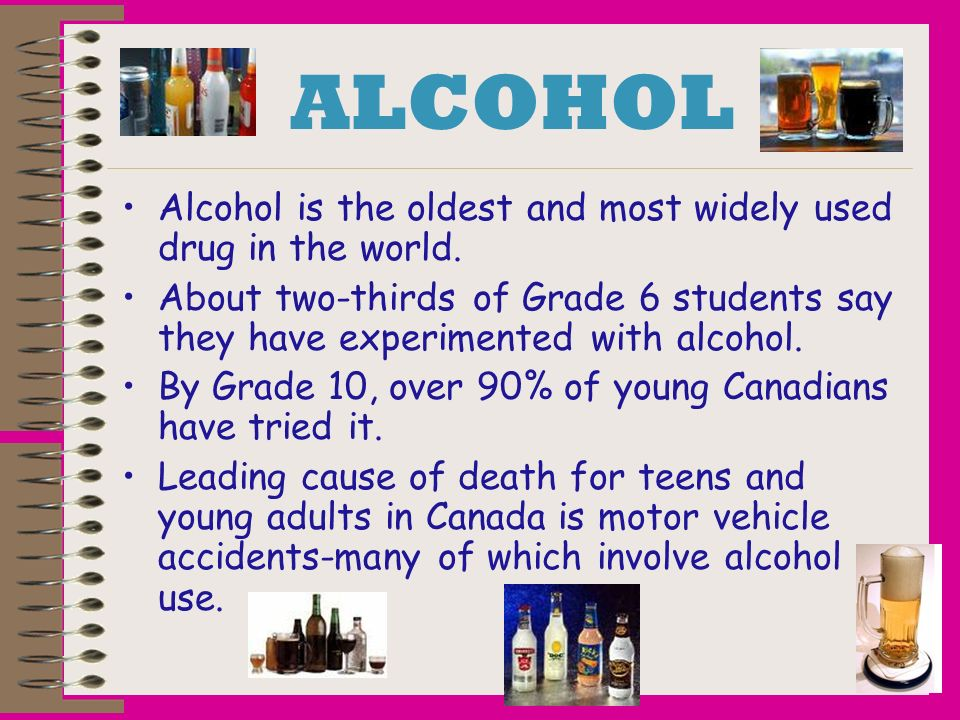 ALCOHOL Alcohol is the oldest and most widely used drug in the world.