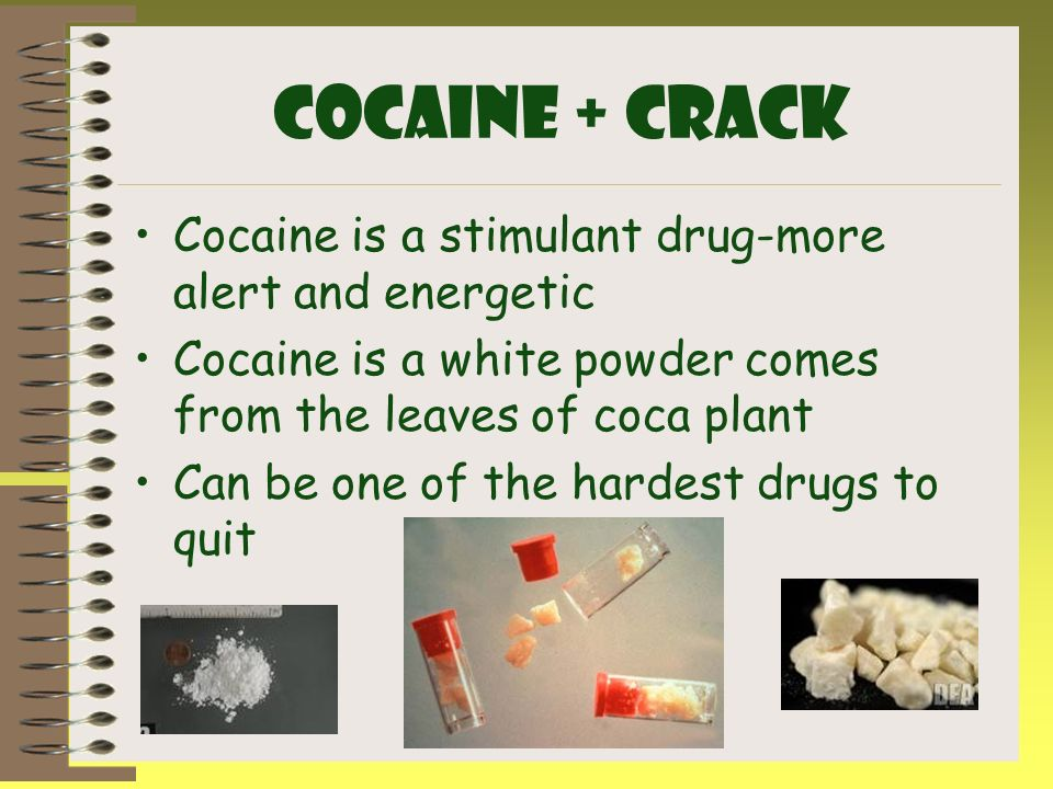 Cocaine + CRACK Cocaine is a stimulant drug-more alert and energetic
