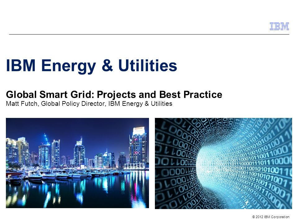 IBM Energy & Utilities Global Smart Grid: Projects and Best Practice Matt Futch, Global Policy Director, IBM Energy & Utilities
