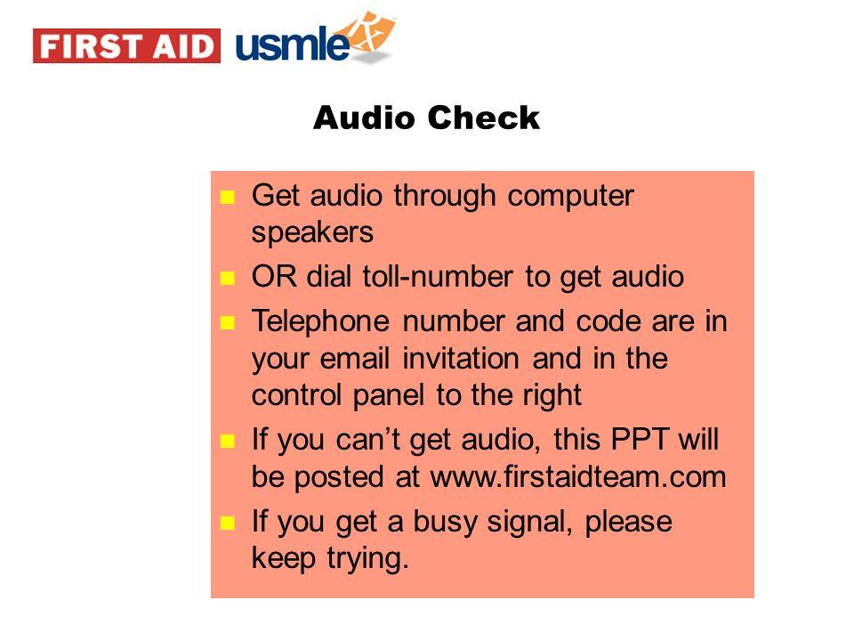 Audio Check Get audio through computer speakers