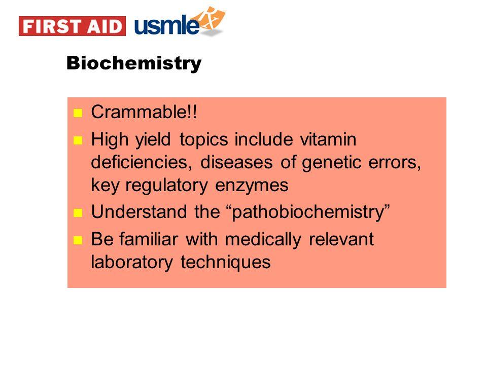 Biochemistry Crammable!! High yield topics include vitamin deficiencies, diseases of genetic errors, key regulatory enzymes.