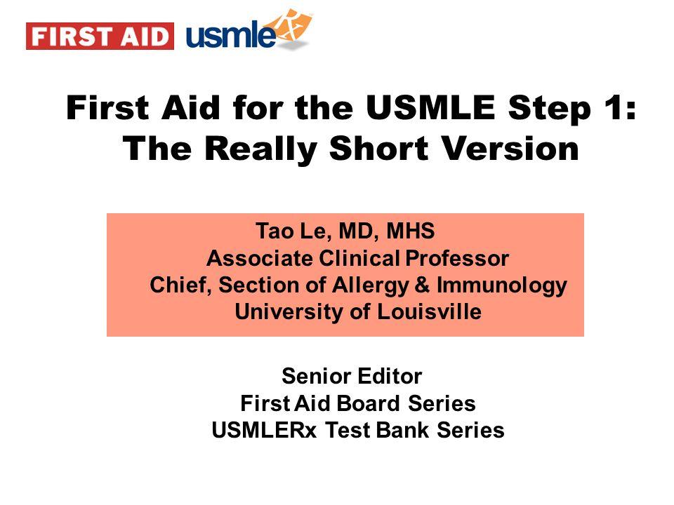 Senior Editor First Aid Board Series USMLERx Test Bank Series
