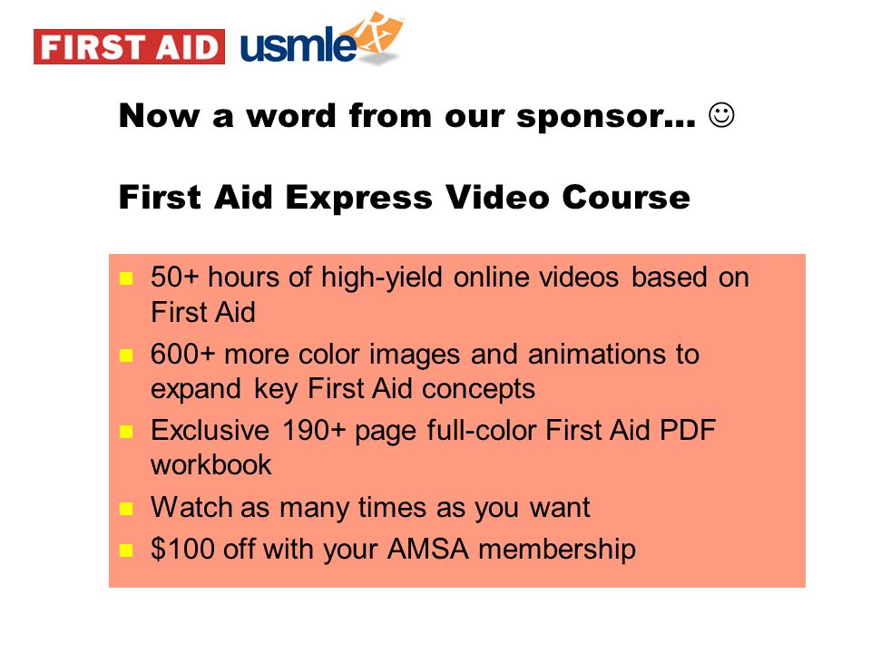 Now a word from our sponsor…  First Aid Express Video Course
