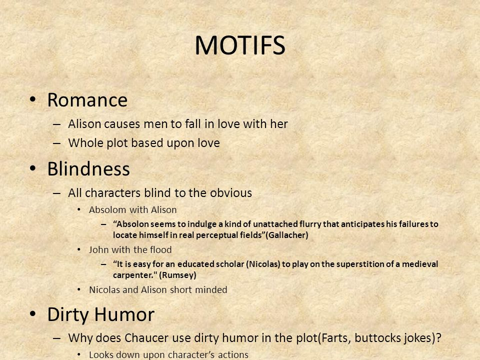 MOTIFS Romance Blindness Dirty Humor
