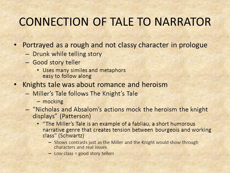 CONNECTION OF TALE TO NARRATOR