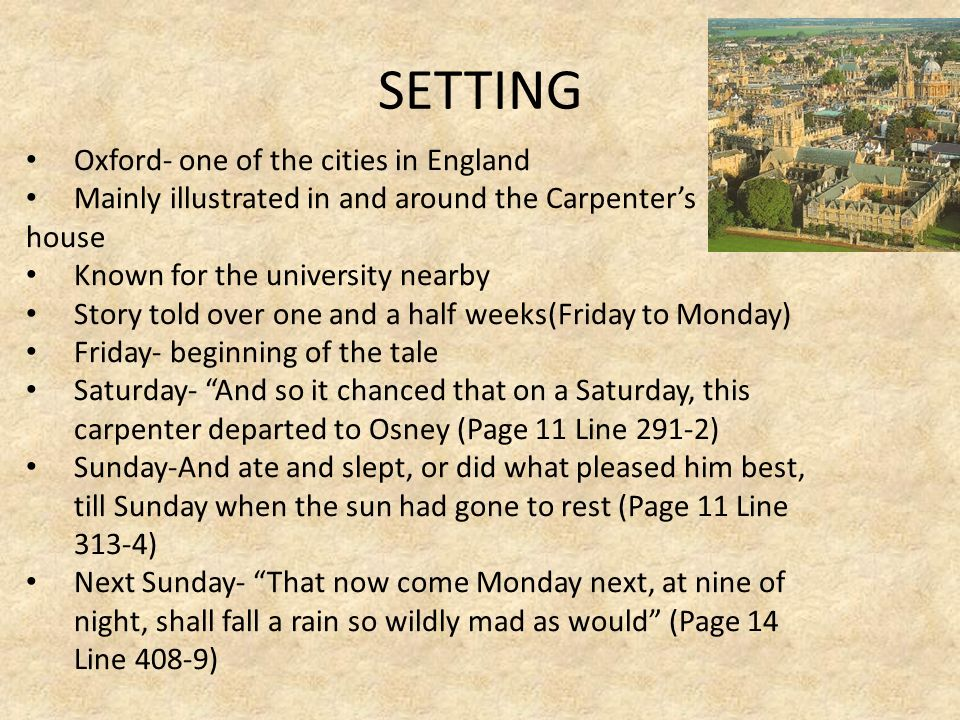 SETTING Oxford- one of the cities in England