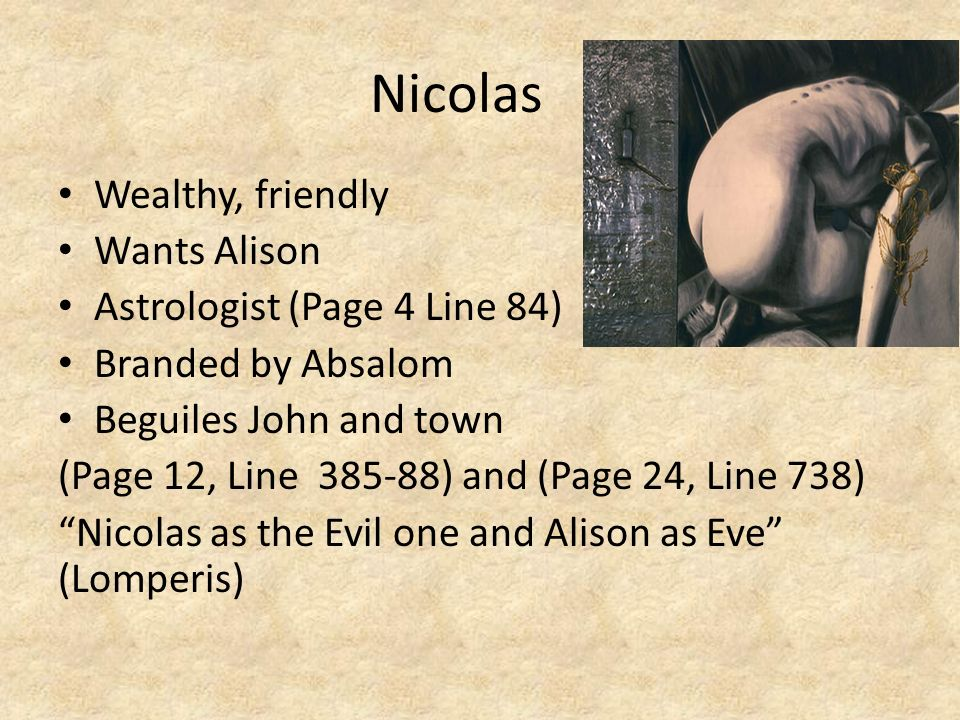 Nicolas Wealthy, friendly Wants Alison Astrologist (Page 4 Line 84)