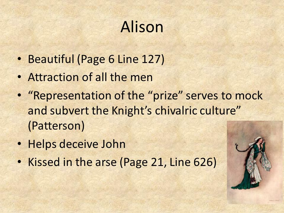 Alison Beautiful (Page 6 Line 127) Attraction of all the men