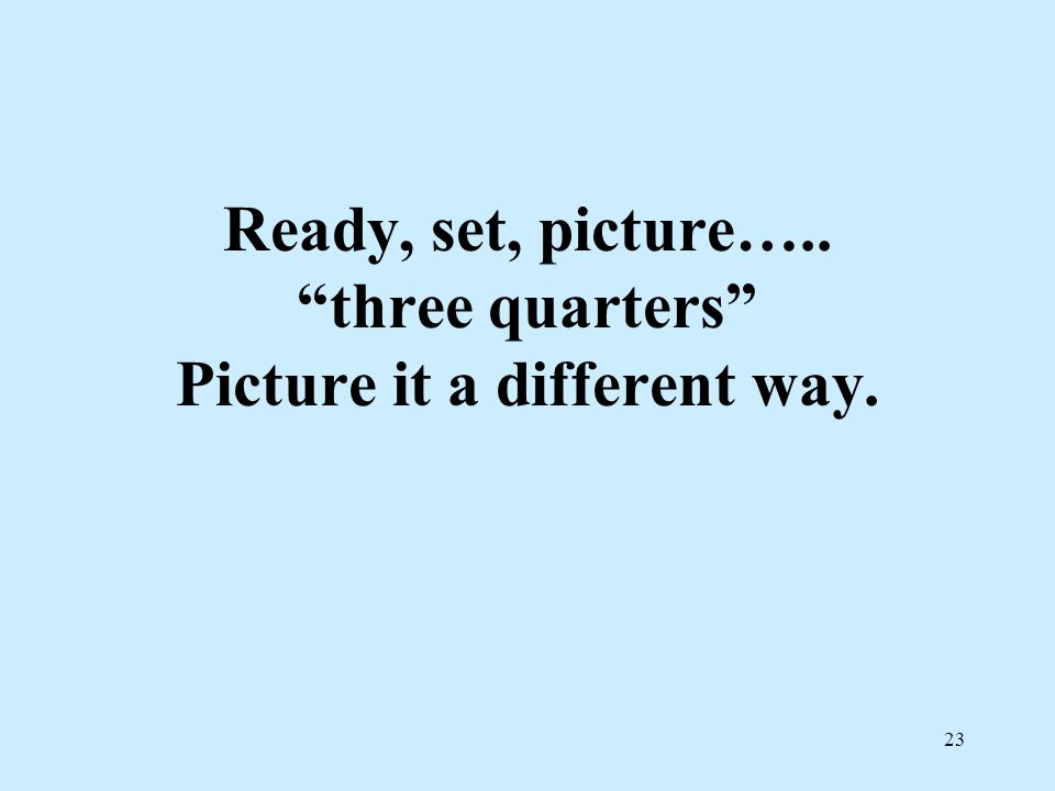 Ready, set, picture….. three quarters Picture it a different way.