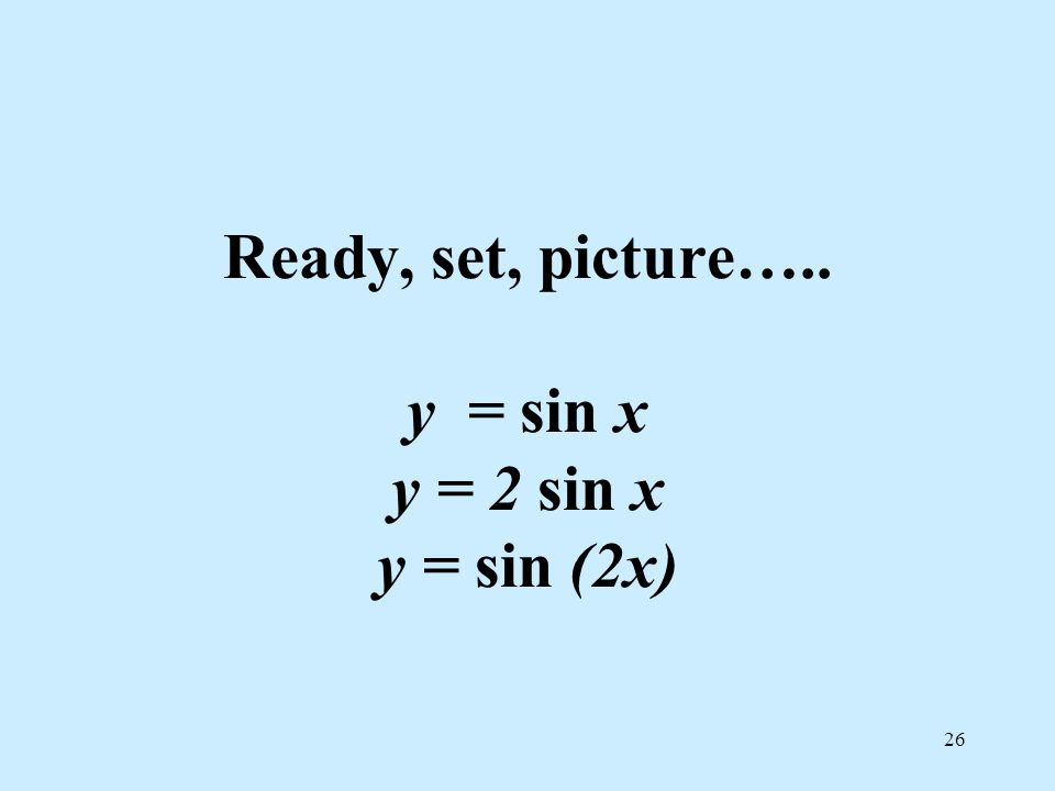 Ready, set, picture….. y = sin x y = 2 sin x y = sin (2x)
