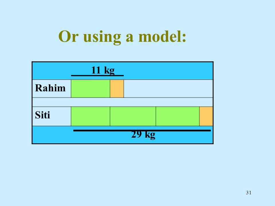 Or using a model: 11 kg Rahim Siti 29 kg