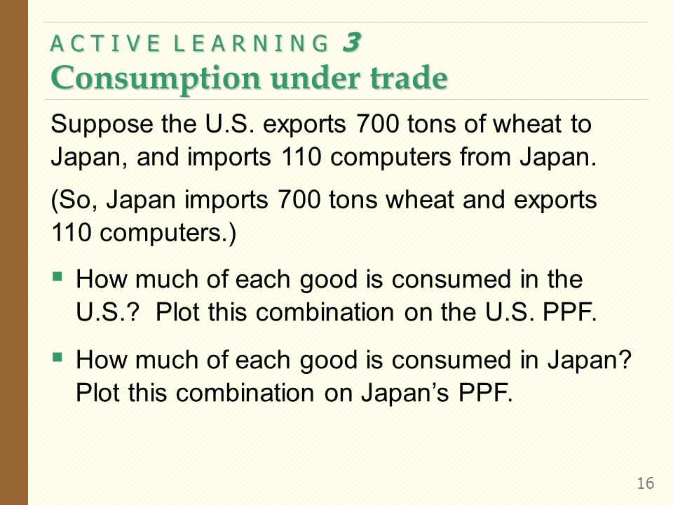 A C T I V E L E A R N I N G 3 Consumption under trade