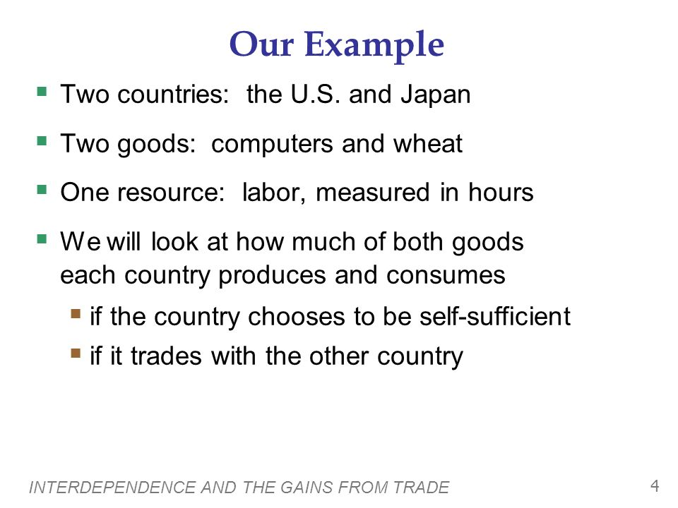 Our Example Two countries: the U.S. and Japan