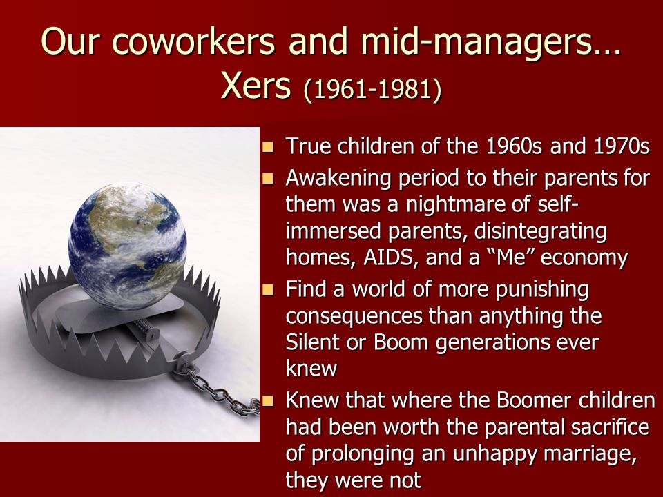 Our coworkers and mid-managers… Xers (1961-1981)