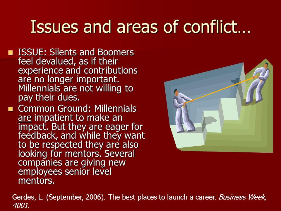 Issues and areas of conflict…