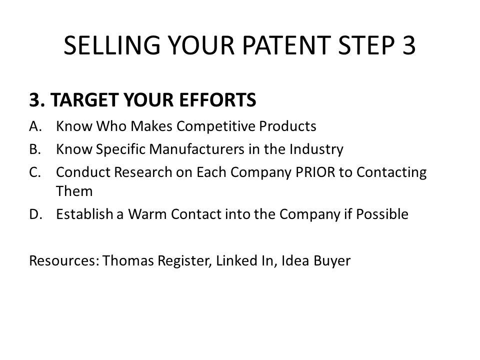SELLING YOUR PATENT STEP 3