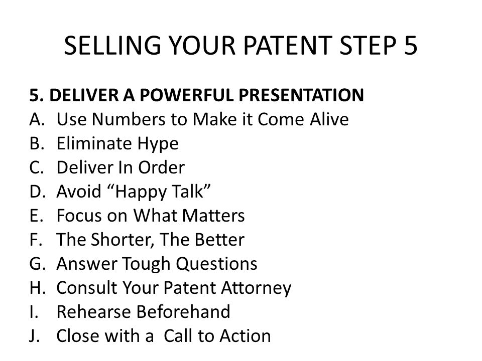 SELLING YOUR PATENT STEP 5