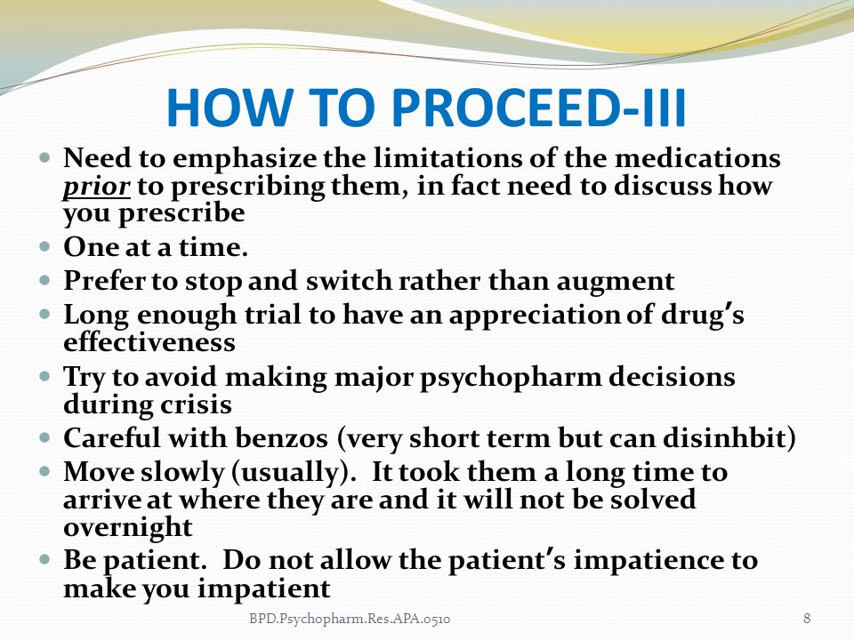 HOW TO PROCEED-IIINeed to emphasize the limitations of the medications prior to prescribing them, in fact need to discuss how you prescribe.