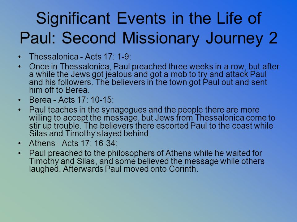 Significant Events in the Life of Paul: Second Missionary Journey 2