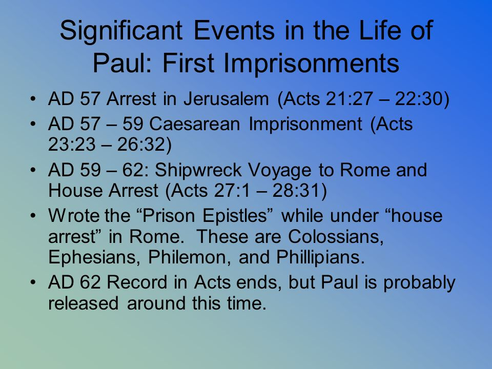 Significant Events in the Life of Paul: First Imprisonments