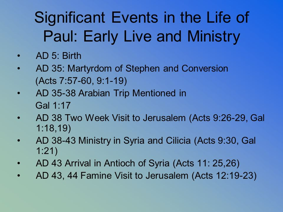 Significant Events in the Life of Paul: Early Live and Ministry