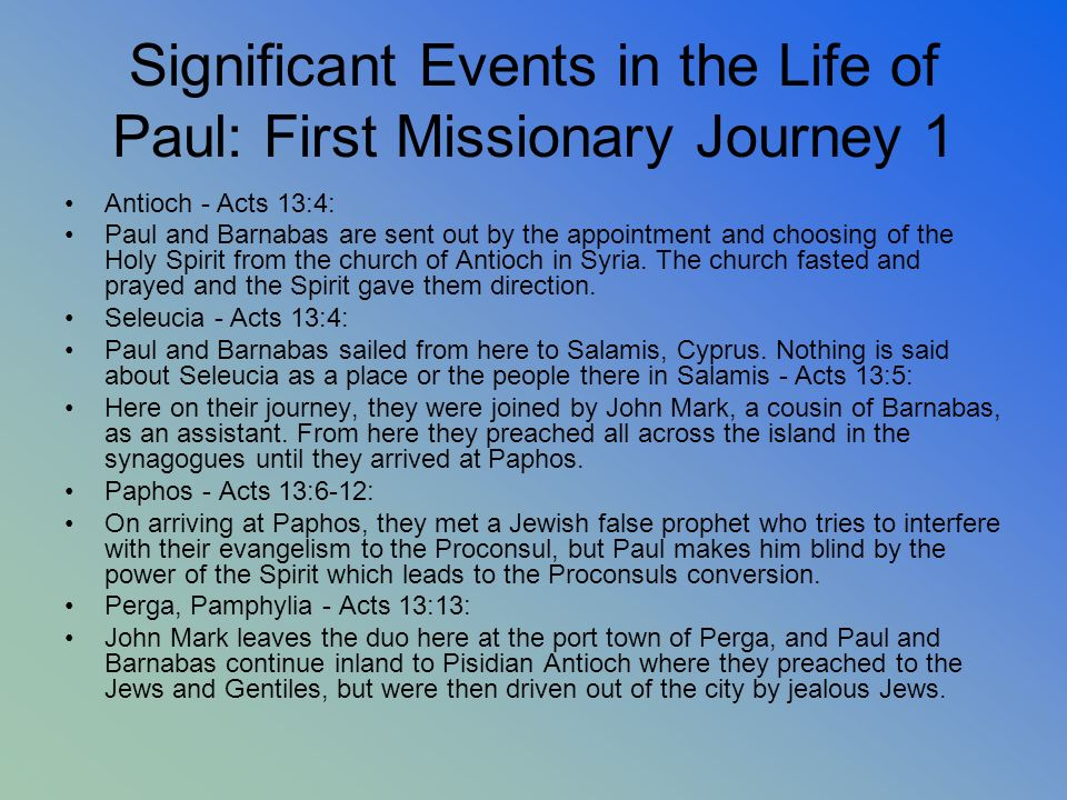 Significant Events in the Life of Paul: First Missionary Journey 1