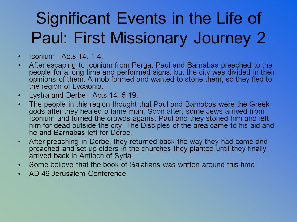 Significant Events in the Life of Paul: First Missionary Journey 2