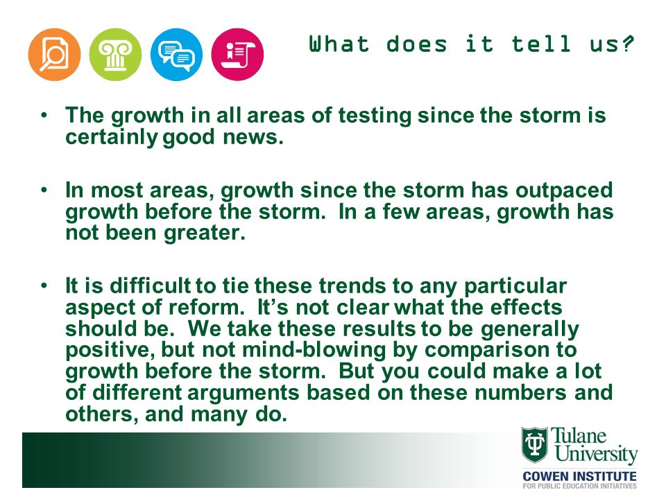 What does it tell us The growth in all areas of testing since the storm is certainly good news.