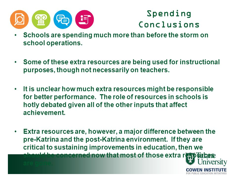 Spending Conclusions Schools are spending much more than before the storm on school operations.
