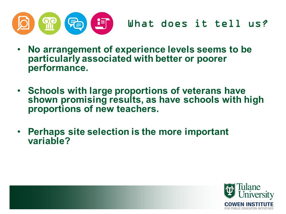 What does it tell us No arrangement of experience levels seems to be particularly associated with better or poorer performance.