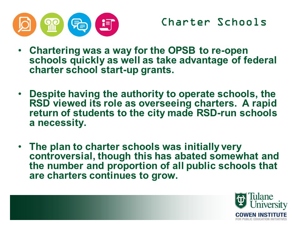 Charter Schools Chartering was a way for the OPSB to re-open schools quickly as well as take advantage of federal charter school start-up grants.