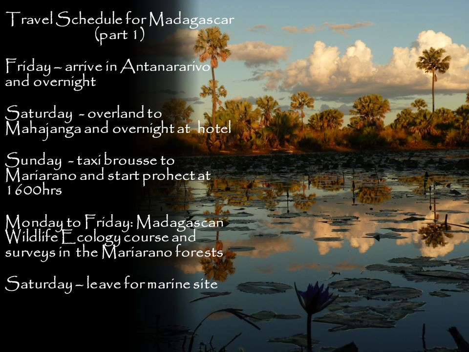 Travel Schedule for Madagascar (part 1)