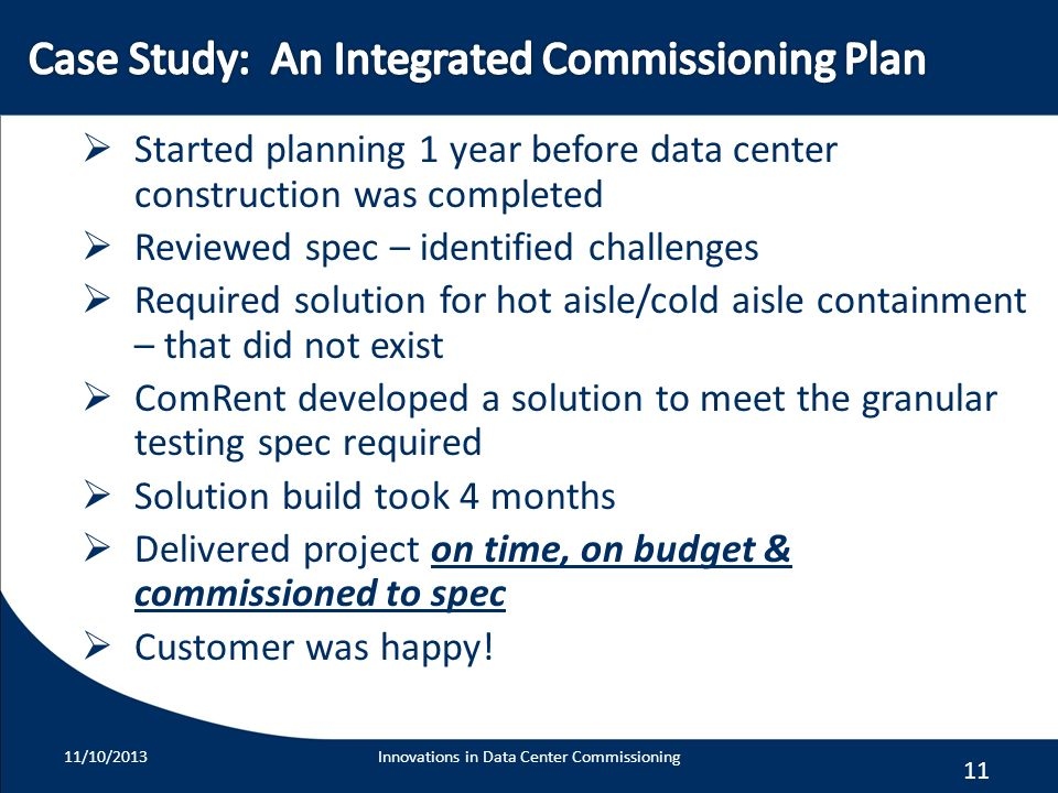 Case Study: An Integrated Commissioning Plan