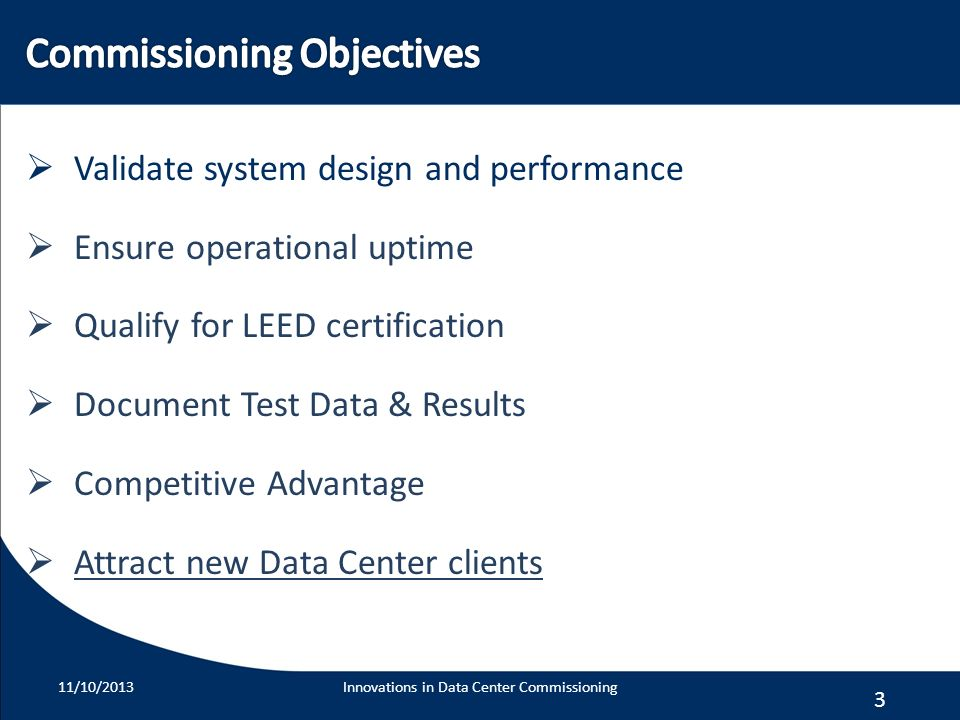 Commissioning Objectives