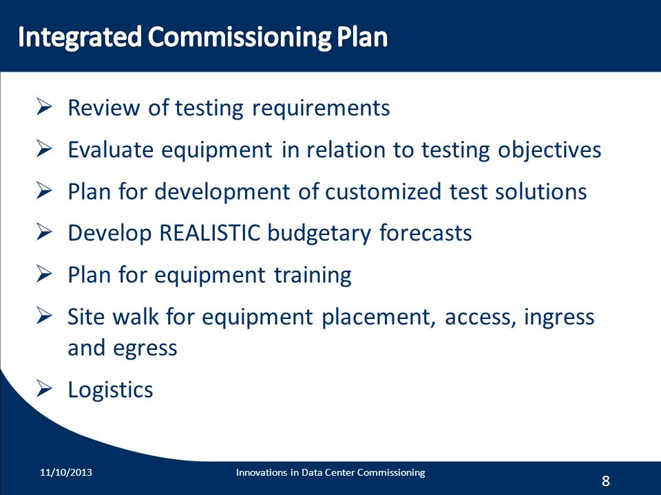 Integrated Commissioning Plan