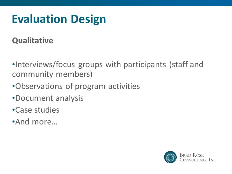Evaluation Design Qualitative