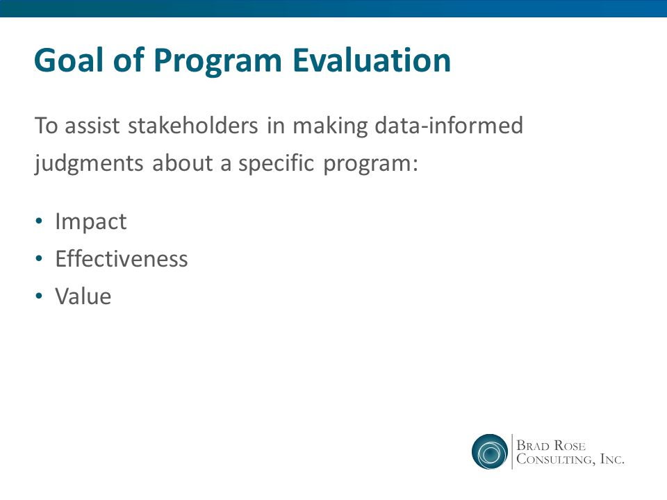 Goal of Program Evaluation