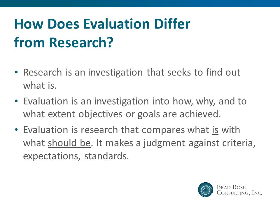 How Does Evaluation Differ from Research