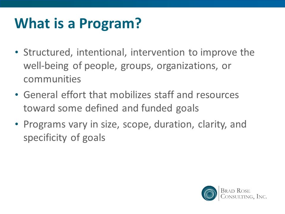 What is a Program Structured, intentional, intervention to improve the well-being of people, groups, organizations, or communities.