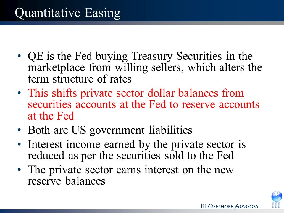 Quantitative Easing QE is the Fed buying Treasury Securities in the marketplace from willing sellers, which alters the term structure of rates.