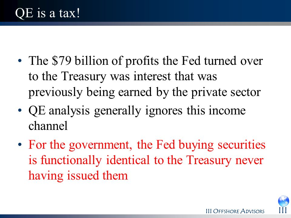 QE is a tax! The $79 billion of profits the Fed turned over to the Treasury was interest that was previously being earned by the private sector.