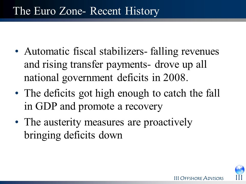 The Euro Zone- Recent History