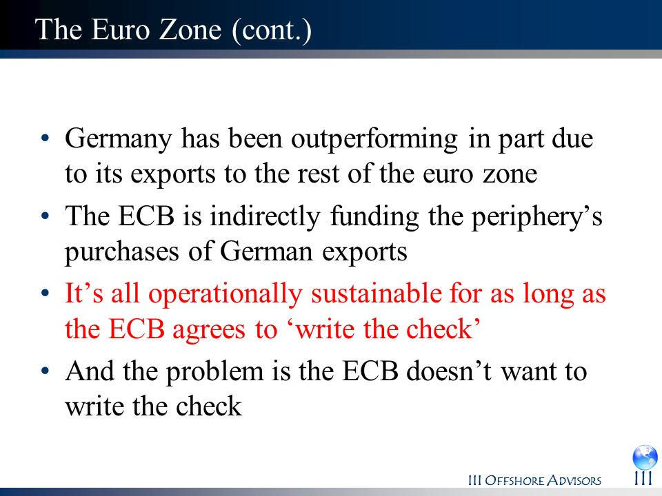 The Euro Zone (cont.) Germany has been outperforming in part due to its exports to the rest of the euro zone.