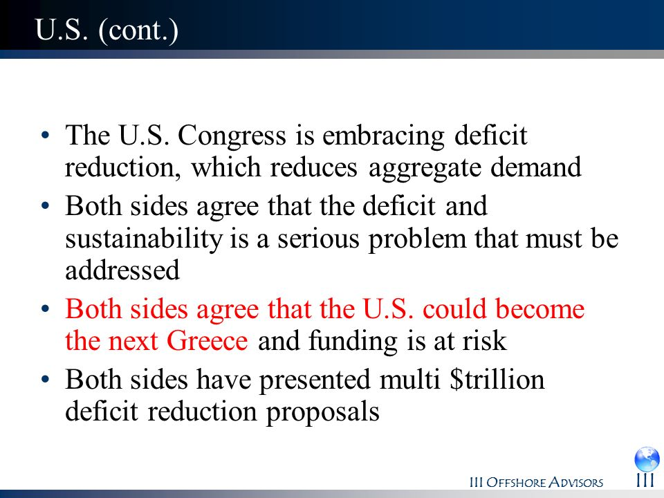 U.S. (cont.)The U.S. Congress is embracing deficit reduction, which reduces aggregate demand.