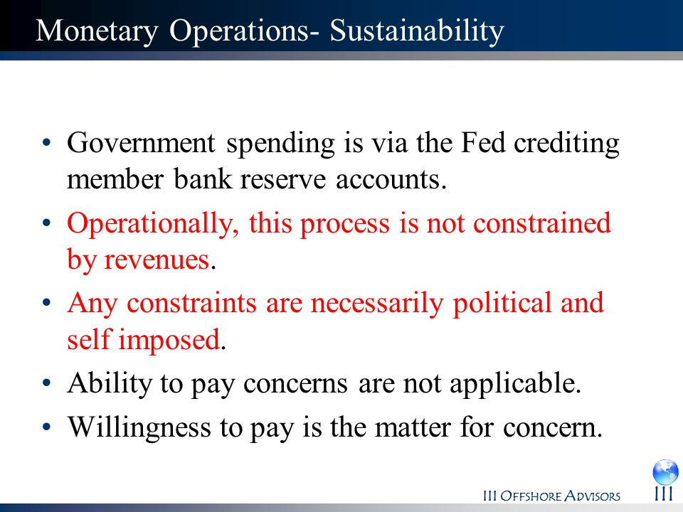 Monetary Operations- Sustainability
