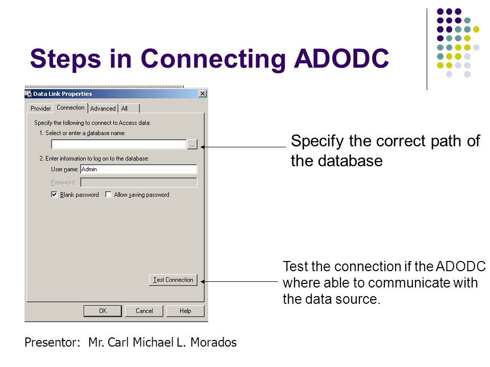 Steps in Connecting ADODC